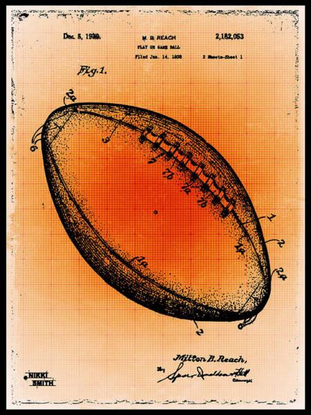 Mixed Media - Football Patent Blueprint Drawing Gold by Tony Rubino