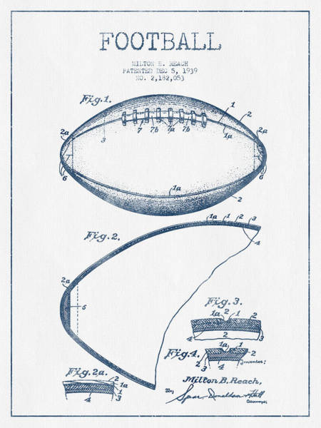American Football Digital Art - Football Patent Drawing From 1939 - Blue Ink by Aged Pixel