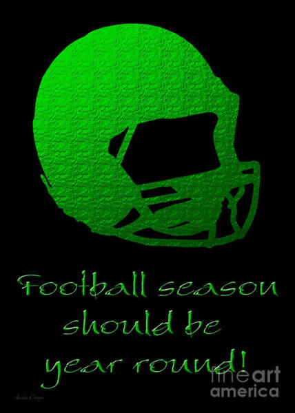 Digital Art - Football Season Should Be Year Round In Green by Andee Design