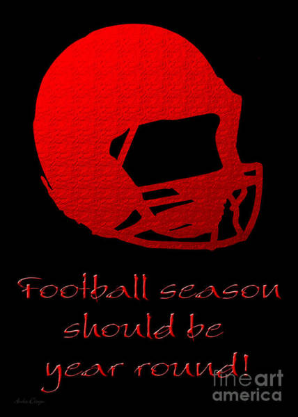 Digital Art - Football Season Should Be Year Round In Red by Andee Design