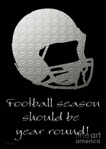 Digital Art - Football Season Should Be Year Round In Silver by Andee Design