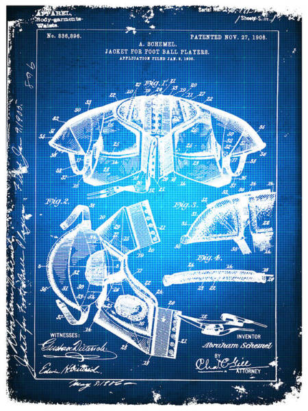 Drawing - Football Shoulder Pads Paten Blueprint Drawing Blue by Tony Rubino
