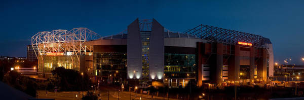 Manchester City Wall Art - Photograph - Football Stadium Lit Up At Night, Old by Panoramic Images