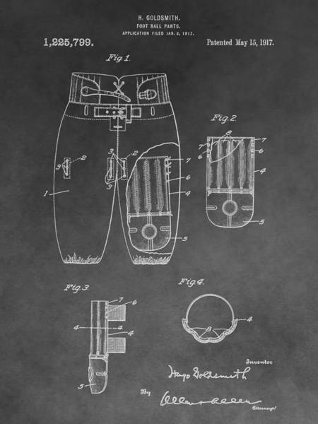 Nfl Drawing - Football Trousers Patent by Dan Sproul