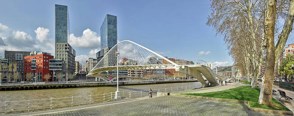 Bilbao Photograph - Footbridge Over A River, Zubizuri by Panoramic Images