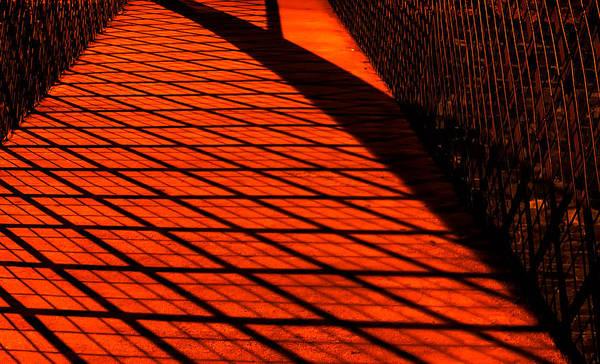 Photograph - Footbridge Patterns By Streetlights by Gary Slawsky
