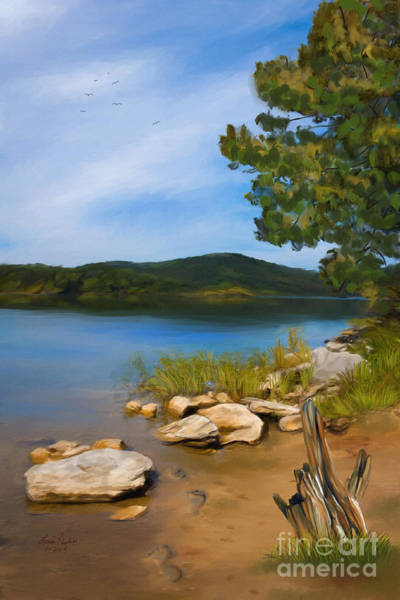 Shore Bird Digital Art - Footprints At Dewey Lake by Lena Auxier