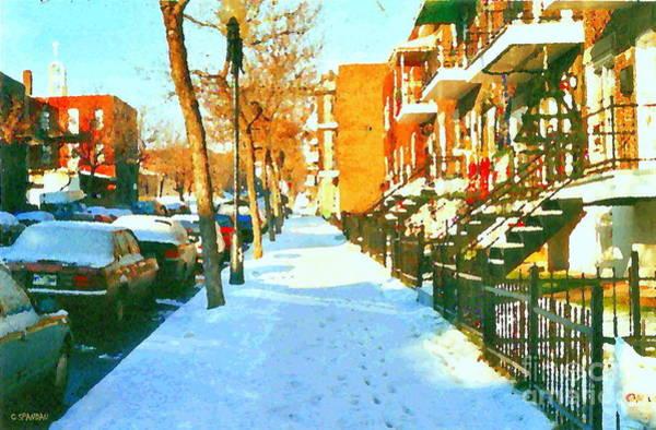 Painting - Footprints In The Snow Montreal Winter Street Scene Paintings Verdun Christmas  Memories  by Carole Spandau