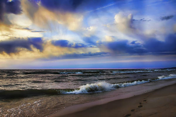 Photograph - Footprints Of A Surfer Saugatuck Michigan by Evie Carrier