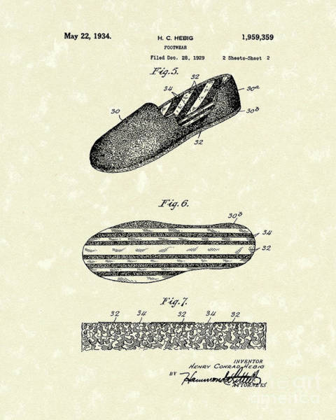 Drawing - Footware 1934 Patent Art by Prior Art Design