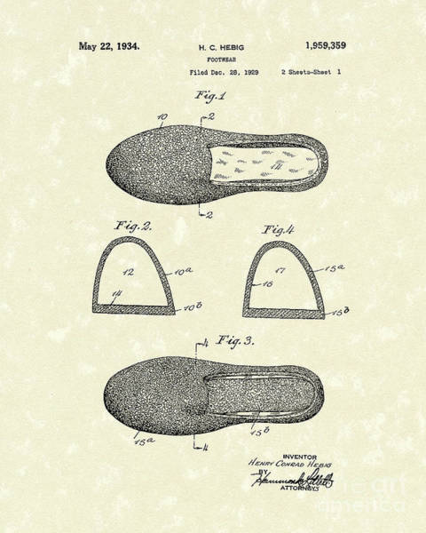 Drawing - Footwear 1934 Patent Art by Prior Art Design