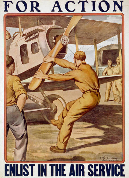 Vintage Airplane Drawing - For Action, Enlist In The Air Service by Otho Cushing