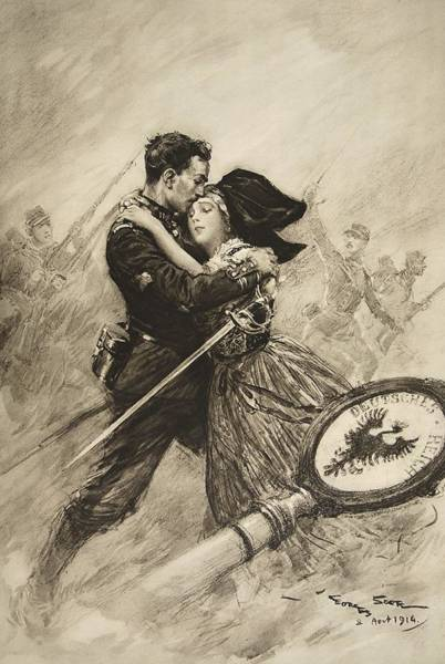 Sword Drawing - For Love And Country, 1914 by Georges Bertin Scott