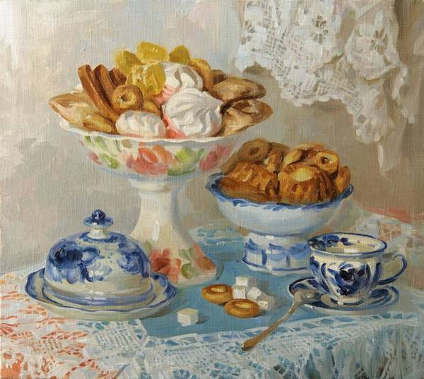 Feast Painting - For Tea by Victoria Kharchenko
