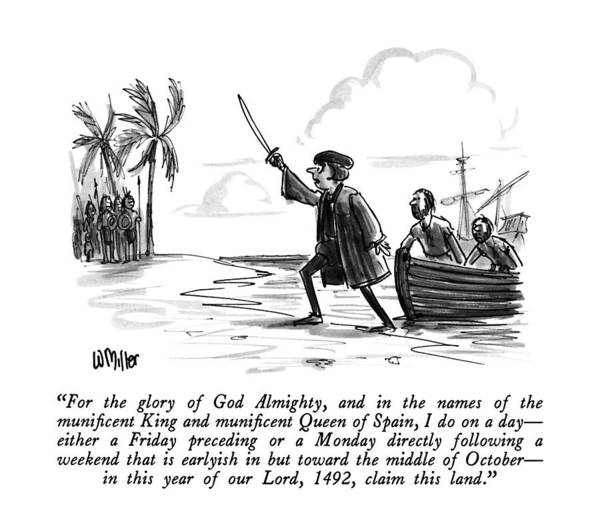 Olden Day Drawing - For The Glory Of God Almighty by Warren Miller