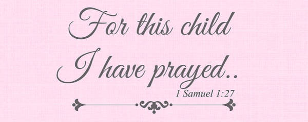 Pray For Love Wall Art - Digital Art - For This Child Small Pink by Chastity Hoff