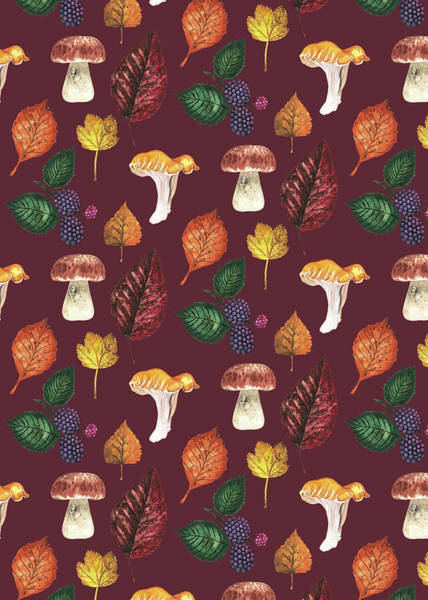 Wall Art - Painting - Foraging Multi Print With Brambles Leaves And Mushrooms_burgundy.jpg by MGL Meiklejohn Graphics Licensing