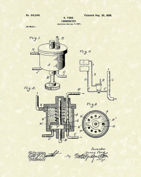 Wall Art - Drawing - Ford Carburetor 1898 Patent Art by Prior Art Design