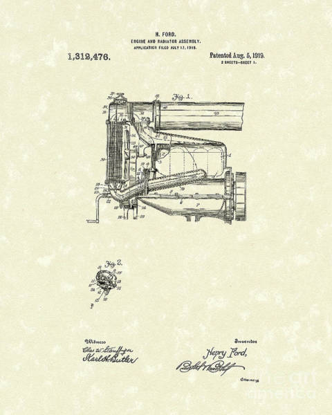 Wall Art - Drawing - Ford Engine Assembly 1919 Patent Art by Prior Art Design