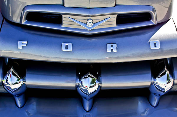 V8 Photograph - Ford F-1 V8 Truck Front End by Jill Reger
