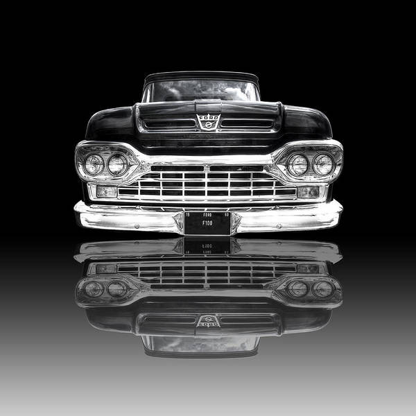 Photograph - Ford F100 Truck Reflection On Black by Gill Billington