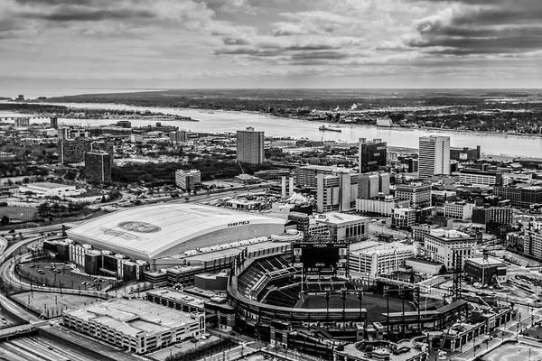 Detroit Lions Photograph - Ford Field And Comerica Park by Cindy Lindow