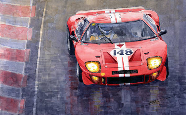 Le Mans 24 Wall Art - Painting - Ford Gt 40 24 Le Mans  by Yuriy Shevchuk