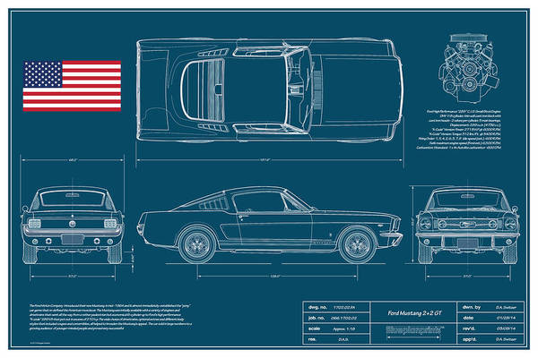 Collector Digital Art - Ford Mustang Gt Fastback Blueplanprint by Douglas Switzer