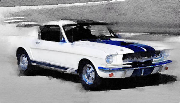 Car Mixed Media - Ford Mustang Shelby Watercolor by Naxart Studio