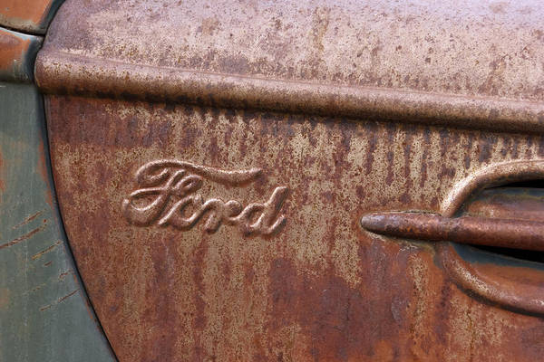 Wrecking Yard Photograph - Ford Name Plate by Wes and Dotty Weber