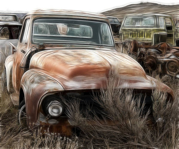 Wrecking Yard Photograph - Ford Old Pickup by Wes and Dotty Weber