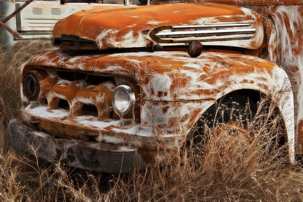 Wrecking Yard Photograph - Ford Old School Bus by Wes and Dotty Weber