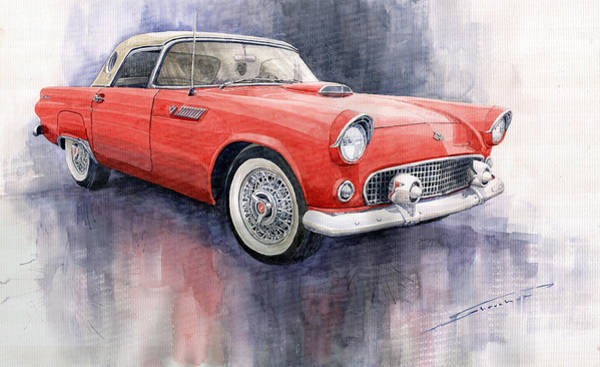 Watercolor Painting - Ford Thunderbird 1955 Red by Yuriy Shevchuk