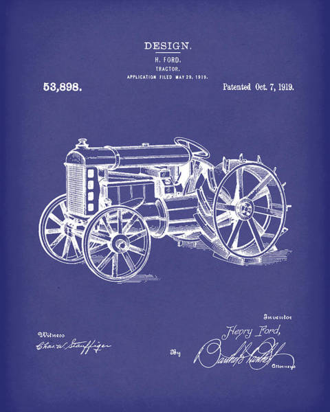 Wall Art - Drawing - Ford Tractor 1919 Patent Art Blue by Prior Art Design