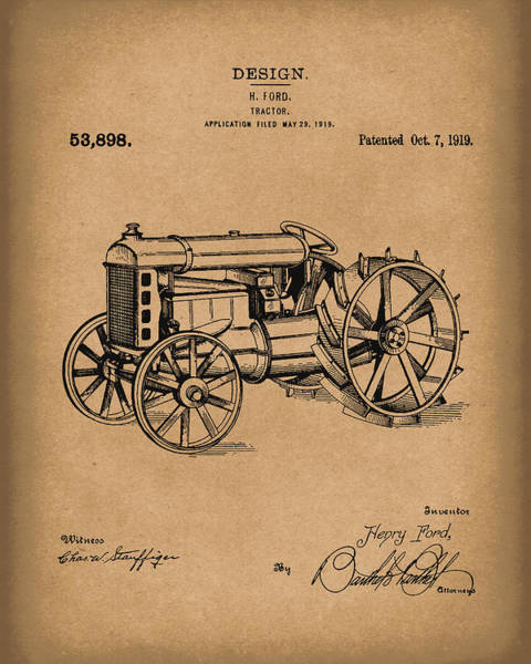 Wall Art - Drawing - Ford Tractor 1919 Patent Art Brown by Prior Art Design