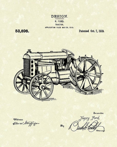 Drawing - Ford Tractor 1919 Patent Art by Prior Art Design
