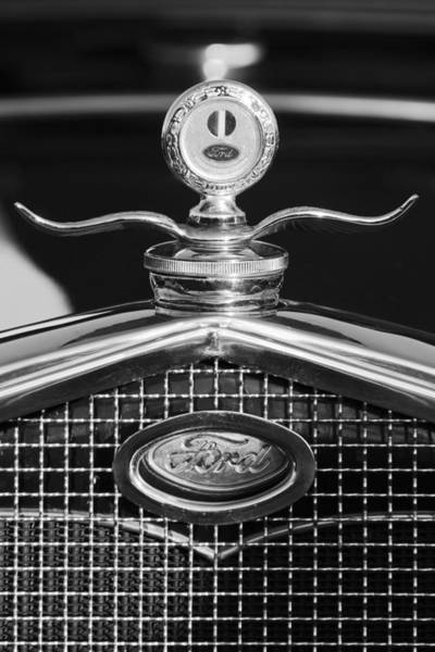 Photograph - Ford Winged Hood Ornament Black And White by Jill Reger