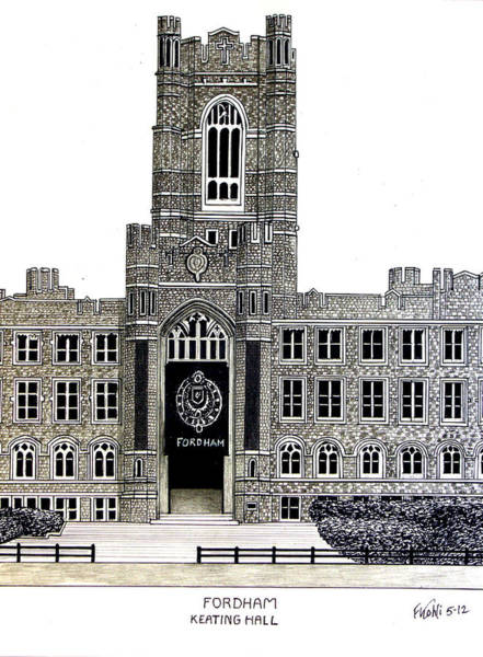 Pen And Ink Drawing Drawing - Fordham by Frederic Kohli