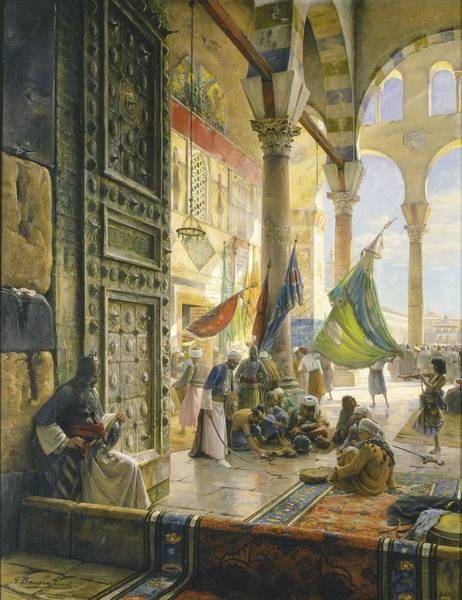 Muslim Photograph - Forecourt Of The Ummayad Mosque, Damascus, 1890 Oil On Panel by Gustave Bauernfeind