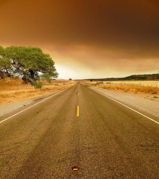 Photograph - Forest Fire Smoke Over Deserted Road by Jeff Lowe