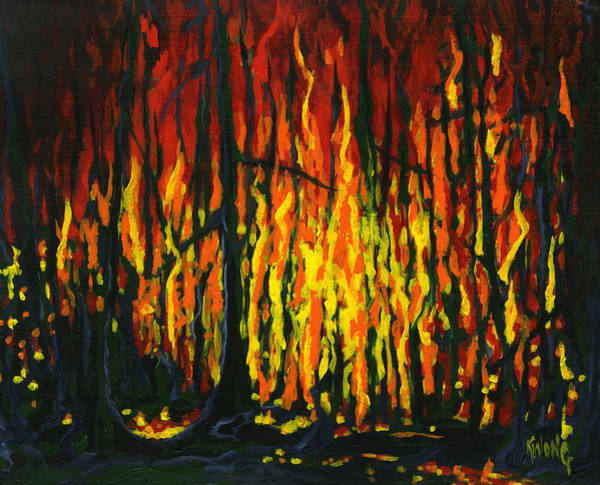 Painting - Forest Fire by Stan Kwong