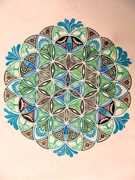 Sacred Geometry Drawing - Forest Geometry by Kirsten Logerquist