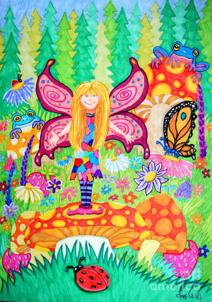 Lady Bug Drawing - Forest Grove Fairy by Nick Gustafson
