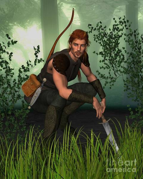 Crouching Digital Art - Forest Hunter by Fairy Fantasies
