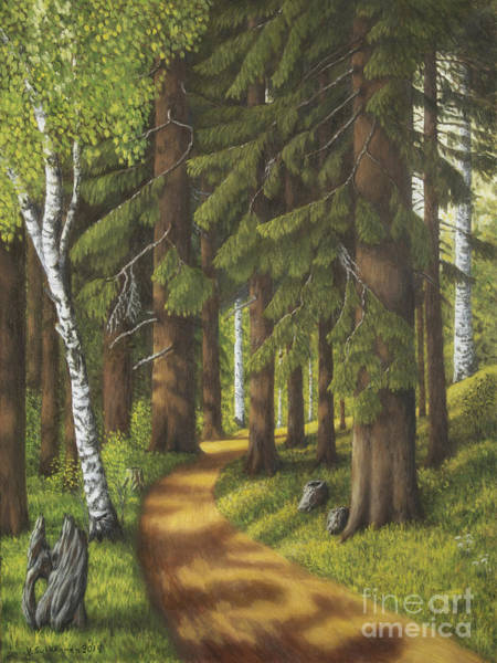 Mossy Wall Art - Painting - Forest Road by Veikko Suikkanen