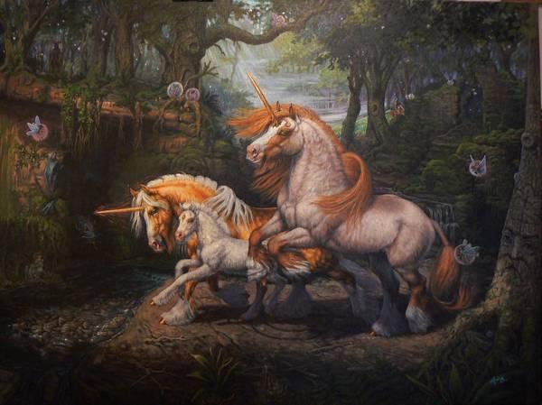Celtic Mythology Wall Art - Painting - Forest Unicorns by Kerry Nelson