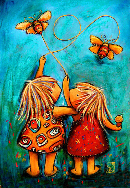 Kite Wall Art - Painting - Forever Friends by Karin Taylor