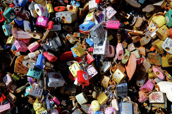 Lock Gates Photograph - Forever Love - Love Locks On Fence by Panoramic Images