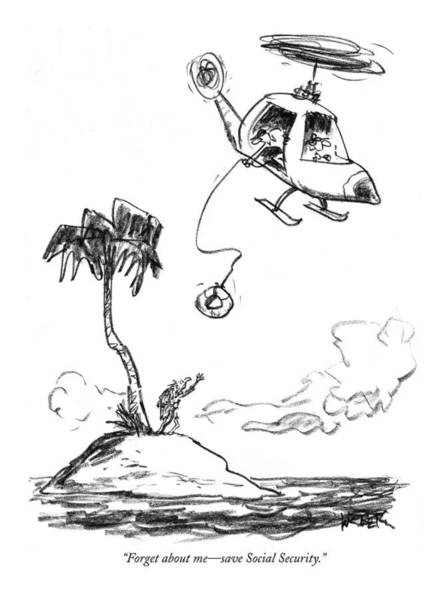 Shipwreck Drawing - Forget About Me - Save Social Security by Robert Weber