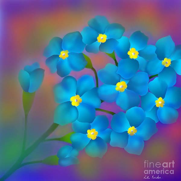 Wall Art - Digital Art - Forget- Me -not Flowers by Latha Gokuldas Panicker